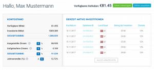 Dashboard Vianvest P2P Plattform