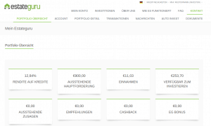 Dashboard der Immobilien Crowdinvesting Plattform EstateGuru