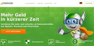 Robocash Webseite P2P Kredit Plattform