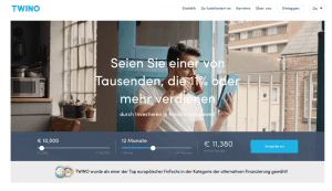 Twino Webseite P2P Kredit Plattform