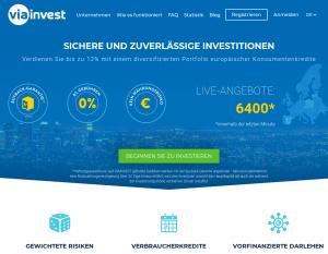 Viainvest Webseite P2P Kredite