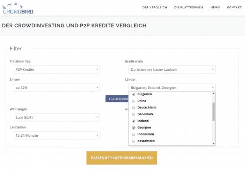 Filter des Crowdinvesting- und P2P Kredite Vergleichs