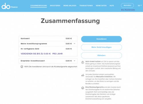 Das Dashboard bei DoFinance - P2P Kredite