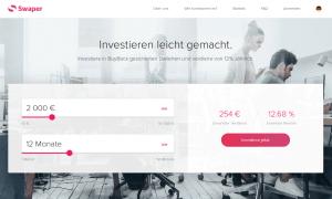 Swaper Webseite - P2P Kredit Plattform