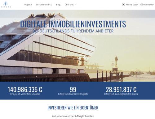 Exporo Startseite Immobilien Crowdinvesting Plattform
