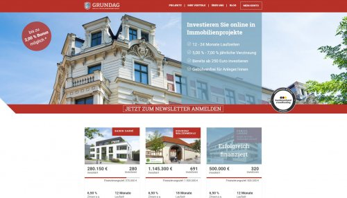 Immobilien Grundag Crowdinvesting Webseite