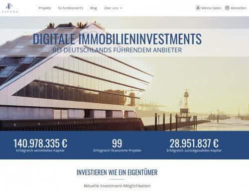 Die Startseite der Immobilien Crowdinvesting Plattform