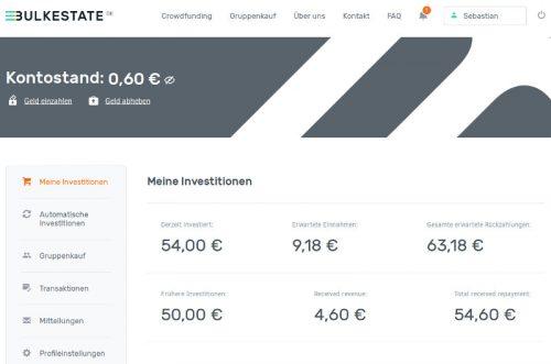 Das Dashboard von Bulkestate der P2P Lending Crowdinvesting
