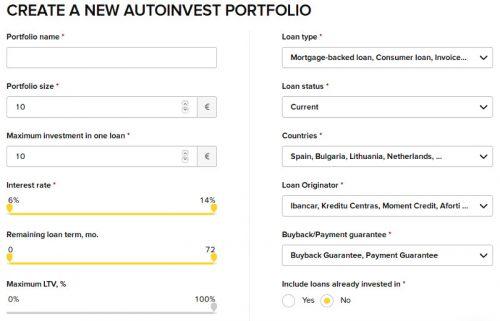Der Autoinvestor mit seinen Einstellungen bei Viventor