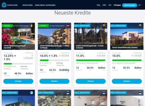 EstateGuru Startseite der Immoblien Crowdinvesting Plattform